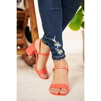 Get Lost Chunky Heels (Coral)