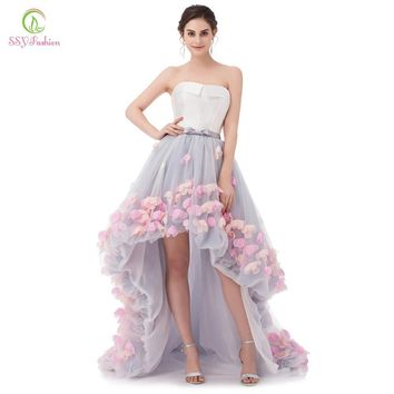 Vestidos SSYFashion Sexy Strapless Sleeveless Short Front Long Back Lace Flower Evening Dress Bride Banquet Formal Party Gowns