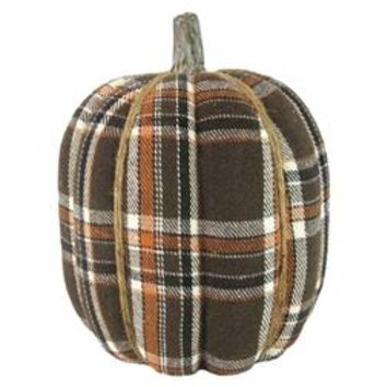 Harvest Hand-Wrapped Plaid Pumpkin Large