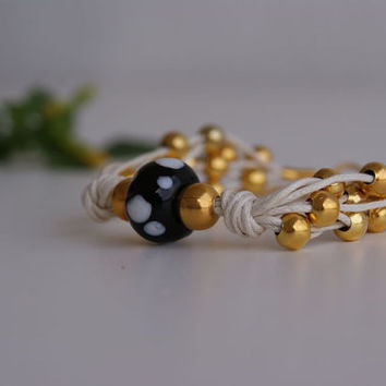 Murano Lampwork & Gold Plating Beads Bracelet-Neutral Ecru Hemp Cord Layered Bracelet-Beaded Multi Strand Bracelet.