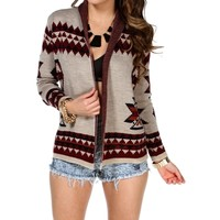 Beige/Burgundy Open Tribal Cardigan