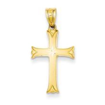 Satin Cross Charm in 14k Gold