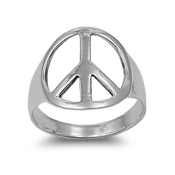 925 Sterling Silver Peace is Possible 18MM Ring