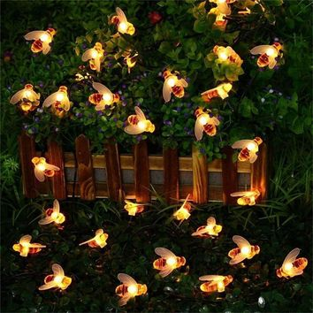 15ft String Light 5.8M 30 LED Solar String Honey Bee Shape Warm Light Garden Decoration Waterproof Creative Tree Hanging Lights