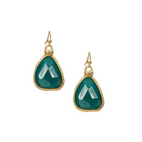 Gold and Green Faceted Stone Swing Earrings