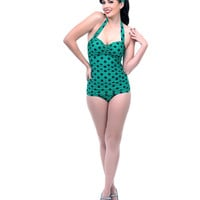 Vintage 1950s Style Pin Up Green & Navy Polka Dot Swimsuit