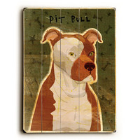 Pit Bull by Artist John W. Golden Wood Sign