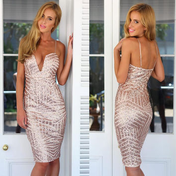 Sequined V-Neck Strappy Bodycon Midi Dress