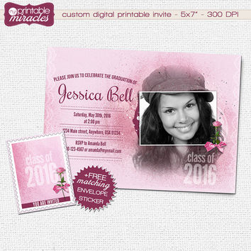 Printable Graduation Invitation, Pink Party Invitation, Sweet16 Invitation, Teens Photo Invite