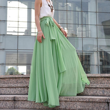 High Waist Maxi Skirt Chiffon Silk Skirts Beautiful Bow Tie Elastic Waist Summer Skirt Floor Length Long Skirt (037), #122