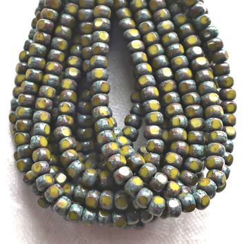 50 4 x 3mm, Tricut, Tri-cut, 3 cut Round Czech glass beads, opaque Avacado Green picasso, earthy, rustic 6/0 seed beads C33101