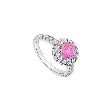 NOVO5 Pink Sapphire and Diamond Halo Engagement Ring : 14K White Gold - 1.30 CT TGW