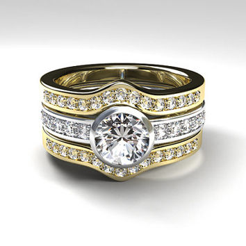 two tone ring Engagement set, white sapphire engagement ring, diamond ring, white gold, yellow gold bezel, diamond solitaire, curved wedding