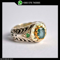 Emerald Ring Sterling Silver Persian Antique Design Genuine Gemstone Size 10.5 (Re-sizing is available for free)