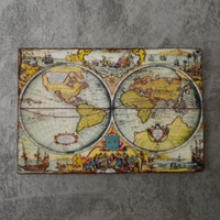 Table map world map antique miniature Dollhouse scale 1:12