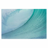 "Susan Sanders ""Ocean Blue Wave"" Teal  Decorative Door Mat"