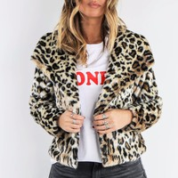 Chaser Cat Walk Cheetah Print Faux Fur Jacket