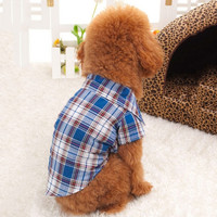 Small Dog Pet Puppy Apparel Plaid Shirt Clothing Coat Pet Clothes Coat Hoodie = 1931681732