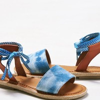AEO Women's Denim Ankle Tie Sandal (Blue)