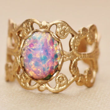 Vintage Fire Opal Ring,Pink Harlequin Opal,Vintage Brass Adjustable Filigree Ring,HEAVY DUTY Band,Opal Ring,Opal Jewelry,Birthstone,