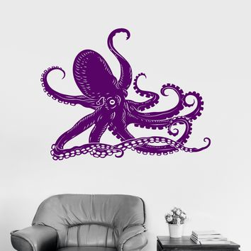 Vinyl Wall Decal Octopus Kraken Ocean Marine Animals Bathroom Art Stickers Mural Unique Gift (ig3005)