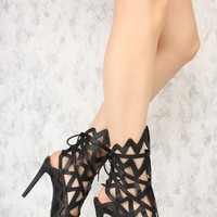 Black Detailed Cutouts Peep Toe Single Sole High Heels Patent