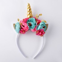 Floral Unicorn Headband - Aqua and Hot Pink