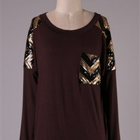 Sequin Shoulder Chevron Top - Brown