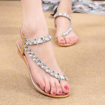 New Arrivals Women's Fashion Sweet Bohemia Rhinestone Sandals Female Clip Toe Wedges S