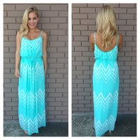 Mint & White Chevron Maxi Dress