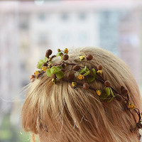 Natural Color Flower Crown, Wedding Floral Crown, Woodland Bridal Headpiece,  Flower Hair Accessories
