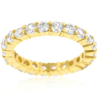 Elizabeth Clear Eternity Stackable Gold Ring | 4ct | Cubic Zirconia | 18k Gold