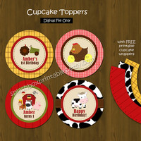 Barn Cupcake toppers with Free Cupcake Wrapper - Barnyard or Farm Animals Party Cupcake Toppers for Birthday or Baby Shower