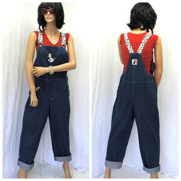 90s womens Disney bib overalls M 101 Dalmatians jean suspender pants like new Disney store denim over all jeans SunnyBohoVintage