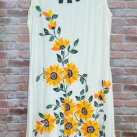 Summer Dress Free Size S,M,L Embroidered Flowers