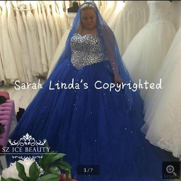 Plus Size Royal Blue sweet 16 Dresses prom gowns Bling Crystals Beaded Tulle 2016 ball gown princess prom dress hot sale