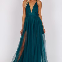 Sheer Mesh Maxi Dress Teal