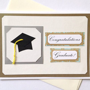 Congratulations Graduate Cap and Tassle Handmade Graduation Greeting Card - Blue Floral or Customize with School Colors (Blank Inside)