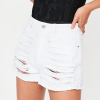 Missguided - White High Waisted Shredded Denim Shorts