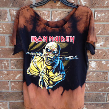 Bleached, tie dyed Metal grunge Iron Maiden shirt size medium