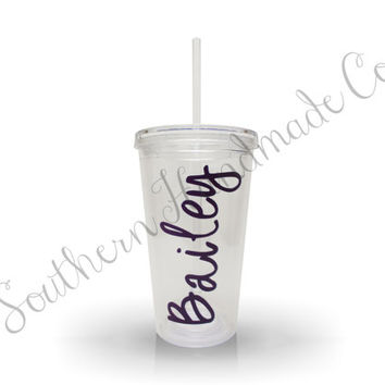 Personalized Clear Acrylic Tumbler Cup w/ Vinyl Monogram, Lid & Straw, 16 oz BPA Free, Choose from 46 Vinyl Colors, 15 Monograms, 8 Fonts