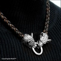 Viking Braid Leather Necklace With Snarling Wolf Heads and And Spring Connector Ring