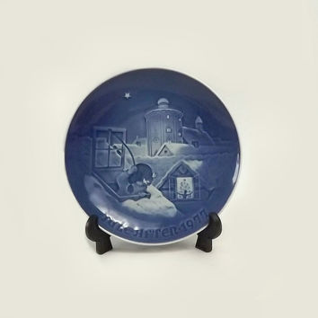 ON SALE - Copenhagen Christmas Collector Plate, 1977 Bing and Grondahl Limited Edition Dish, Cobalt Blue