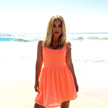 Neon Coral Open Back Dress