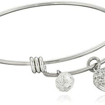 Disney Stainless Steel Catch Bangle with Silver Plated Crystal Tiara Royal and Loyal and Crystal Bead Charm Bangle Bracelet