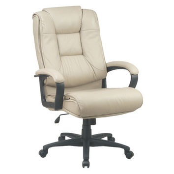 Work Smart EX Series EX5162-G11 Executive High Back Tan Glove Soft Leather Chair w/ Padded Loop Arms