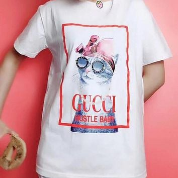 GUCCI Fashion Women Men Cute Glasses Cat Print Short Sleeve T-Shirt Top Blouse White I12888-1