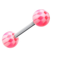 Classic Checker Acrylic Top Barbell Tongue Ring