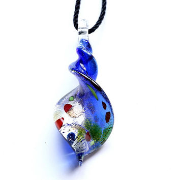 New Murano Lampwork Art Glass 5 colors foil Distorted fringe 3D point Women's Pendant Mixed Colors for Necklace