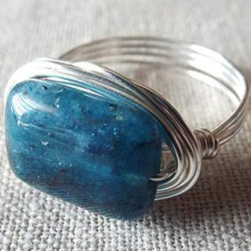 Blue Apatite Ring Blue Stone Ring Wire Wrap Ring Gift for Best Friend Unique Ring Gift for Girlfriend Simple Ring Gifts Under 20